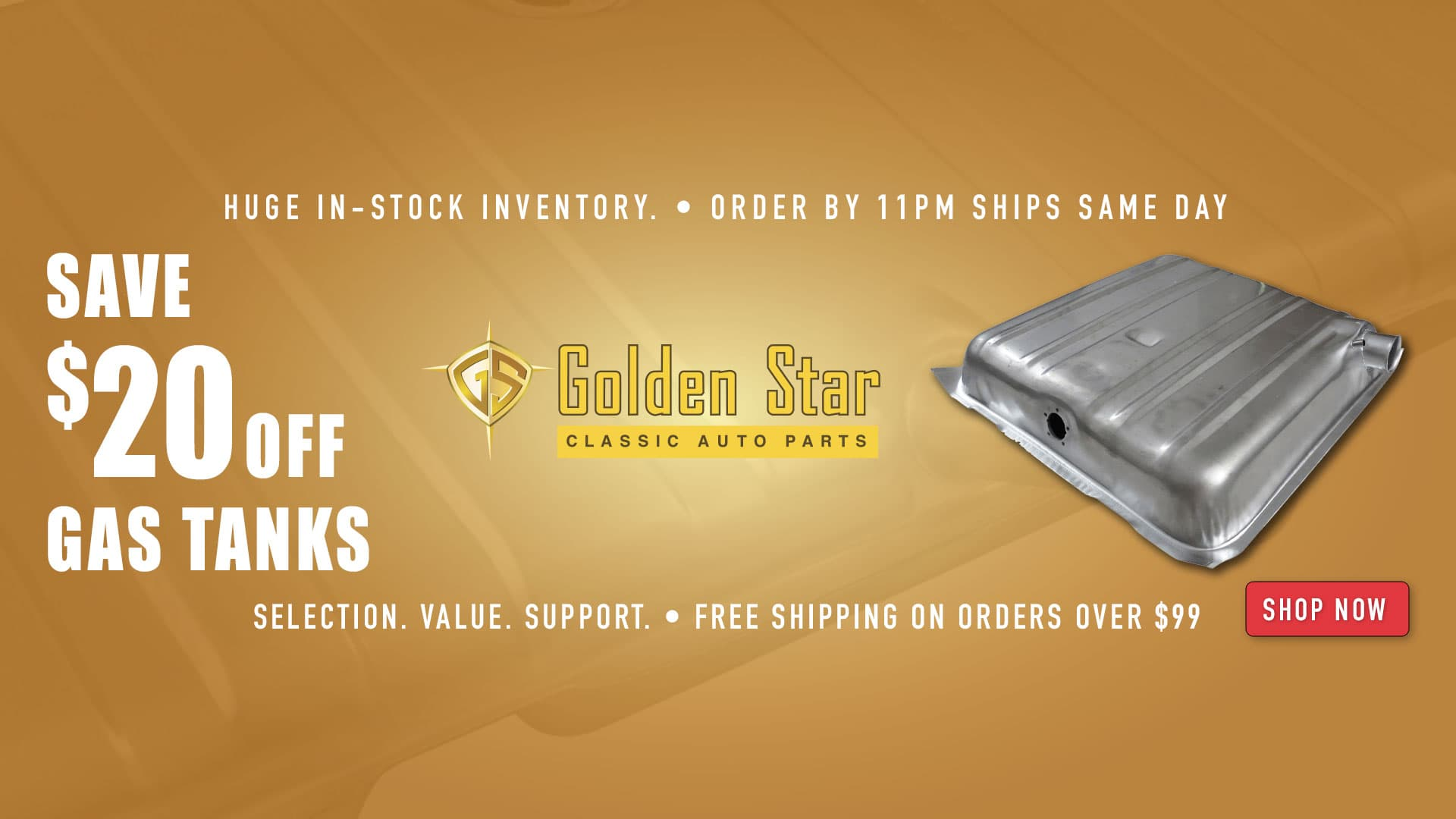 Save $100 off Golden Star Glass Kits and $20 off Gas Tanks