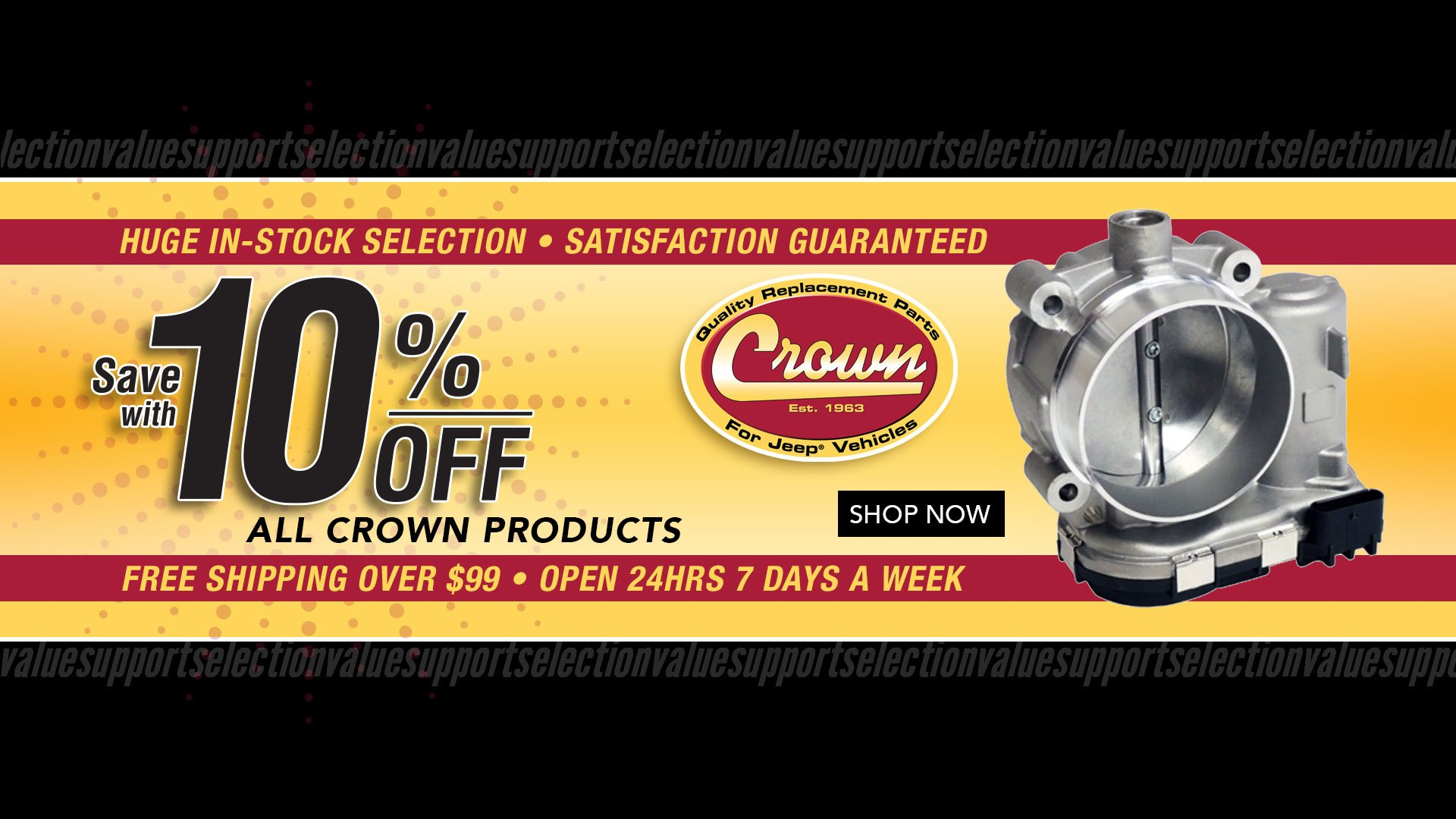 Save 10% off all Crown Automotive Products