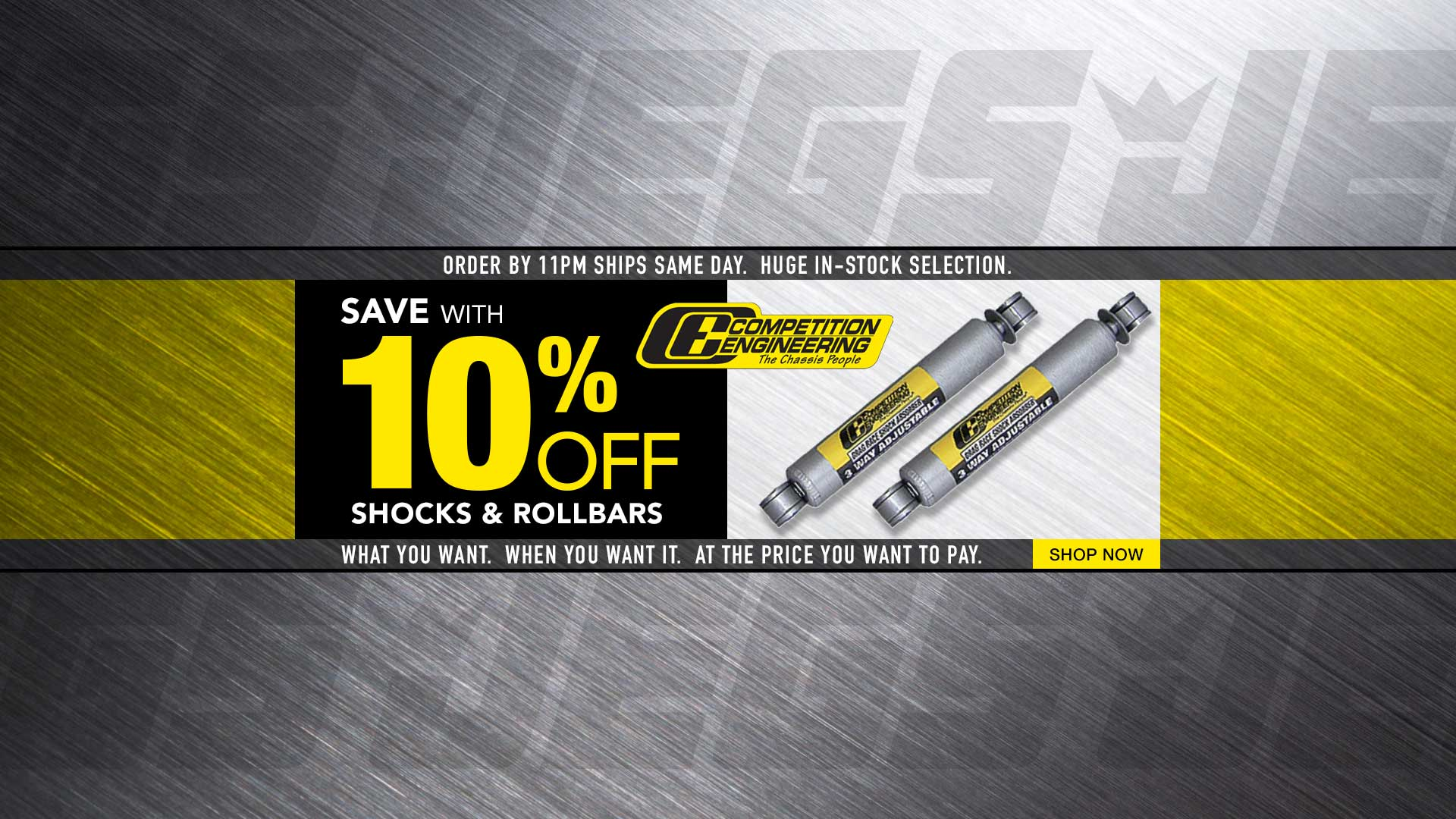 Save 10% off Competition Engineering Shocks & Roll Bars