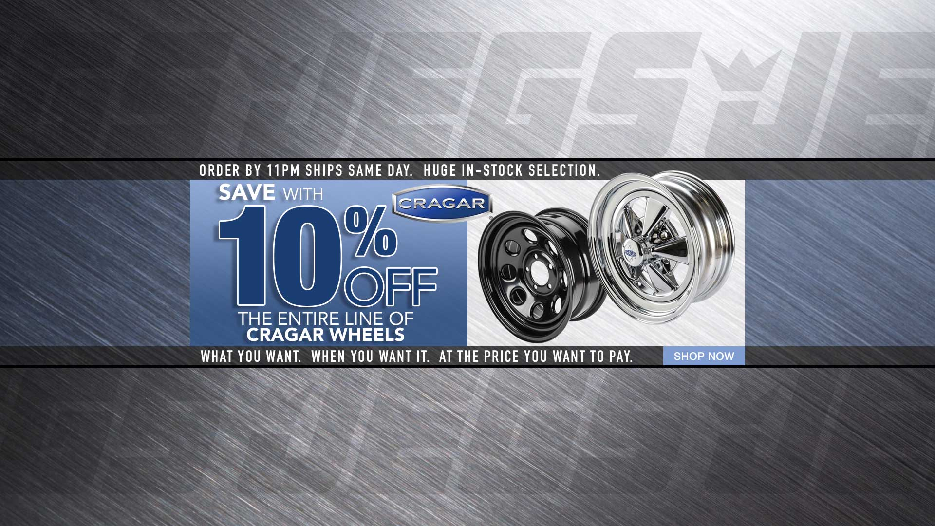Save 10% off all Cragar Wheels