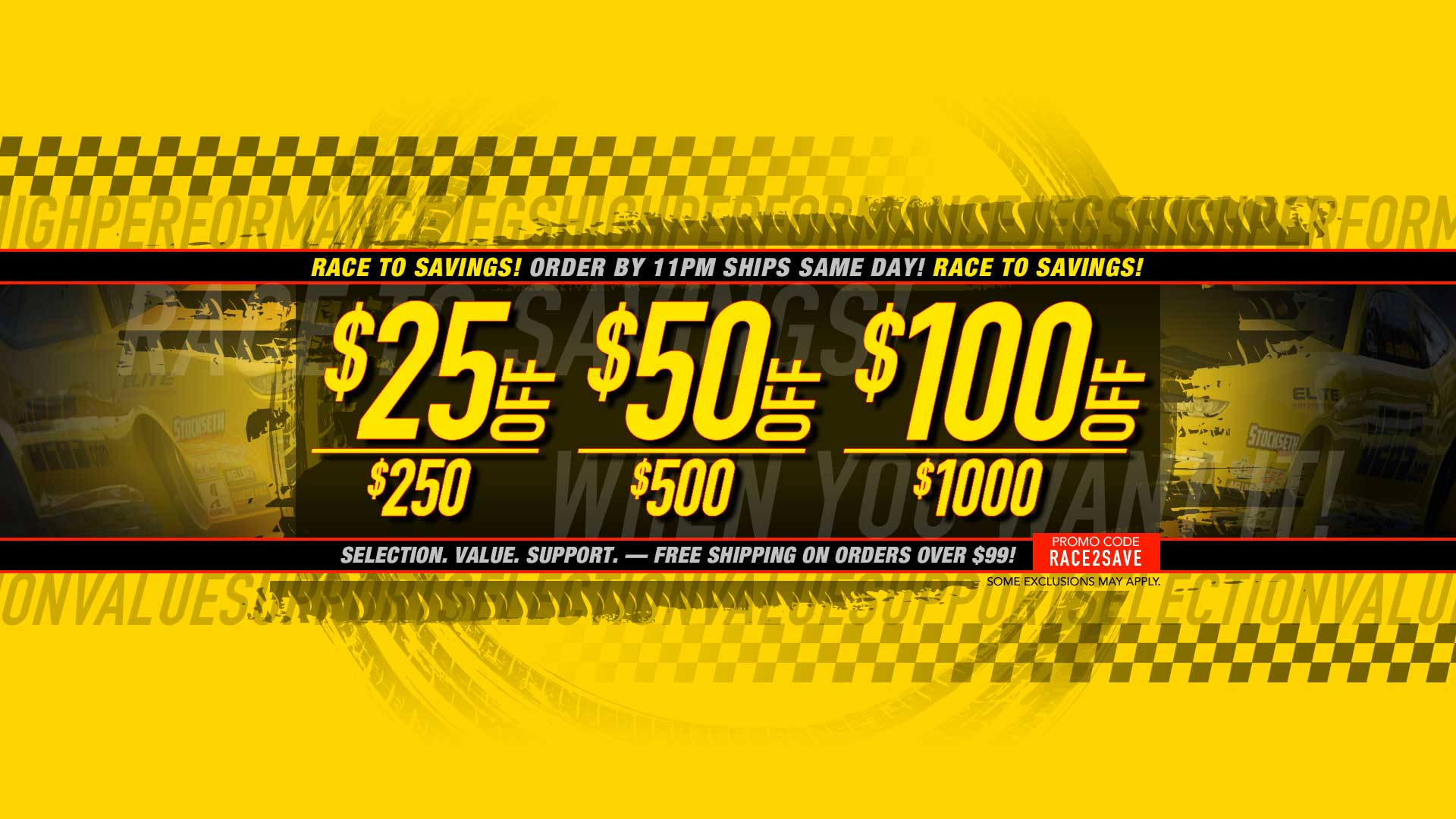 Save $20 off $250, $40 off $500, $100 off $1,000 - Use Promo Code: RACE2SAVE