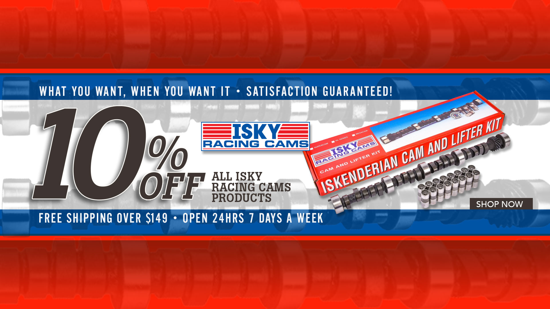 Save 10% on ALL Isky Racing Cams Products