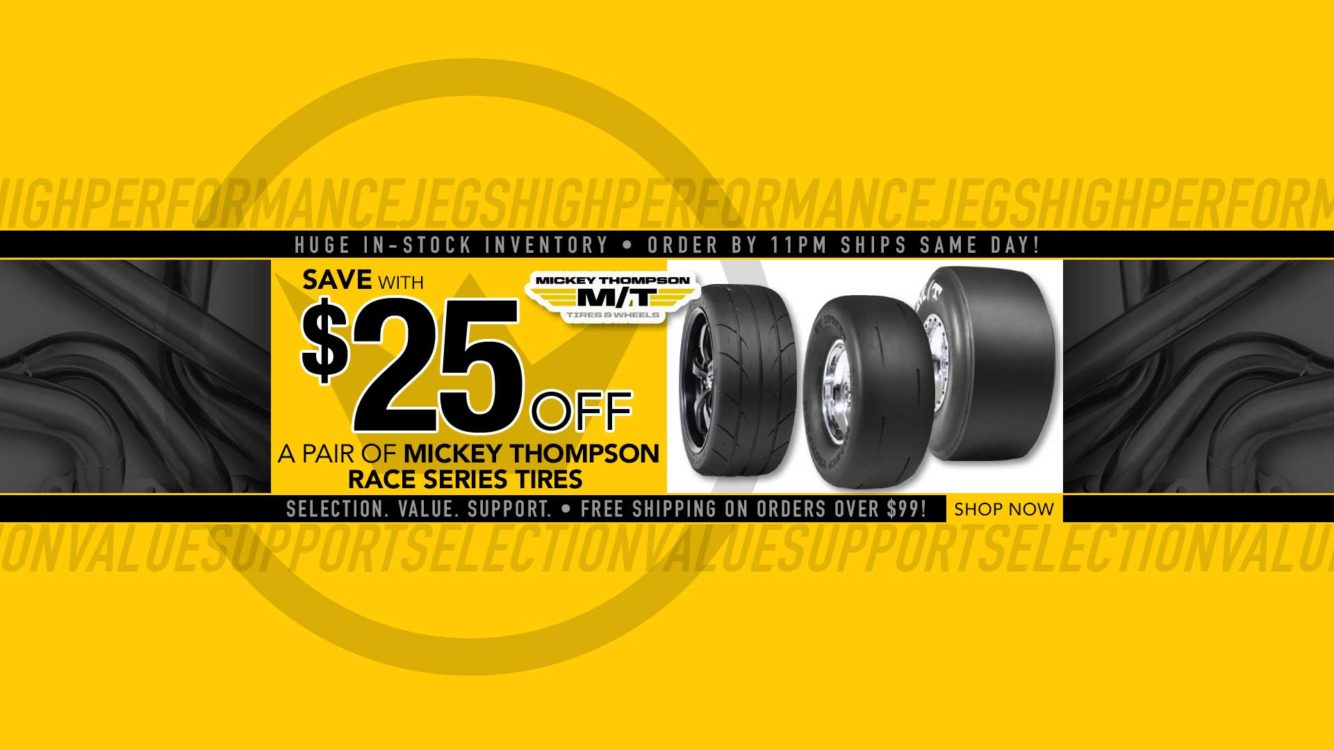 Save $25 off a Pair of Mickey Thompson Tires