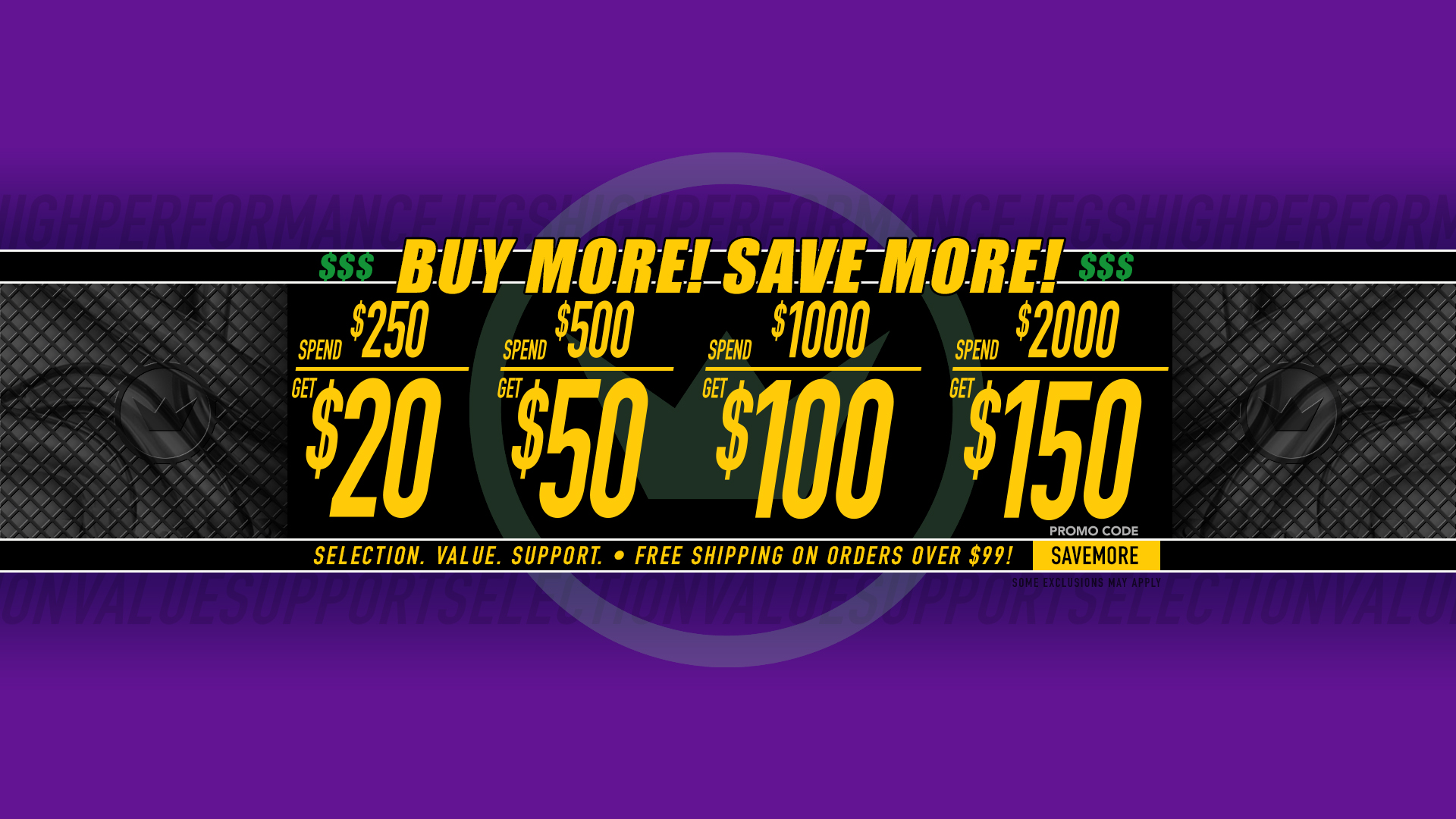 Save $20 Off $250, $50 Off $500, $100 Off $1,000, $150 Off $2,000 - Promo Code SAVEMORE