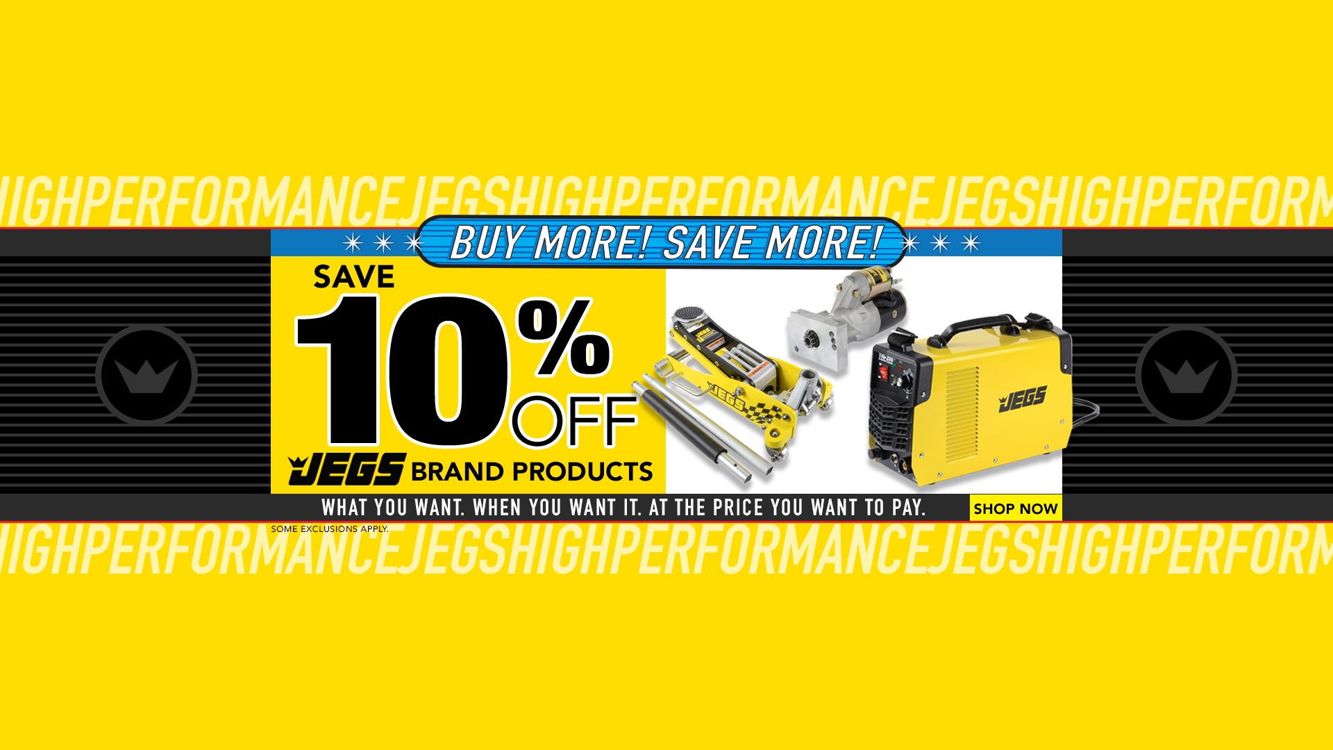 Save 10% off JEGS Brand Products