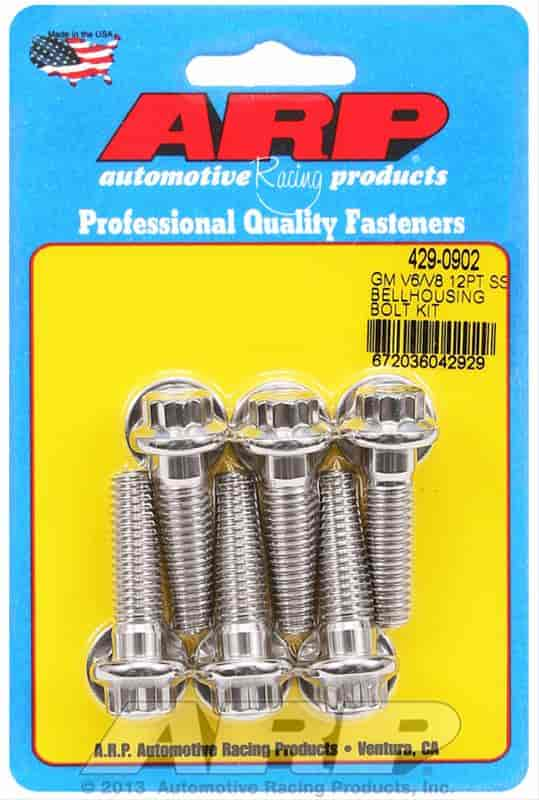 ARP 129-0901 GM Chevy Small Block//Big Block Bellhousing Bolt Kit Black Hex Head