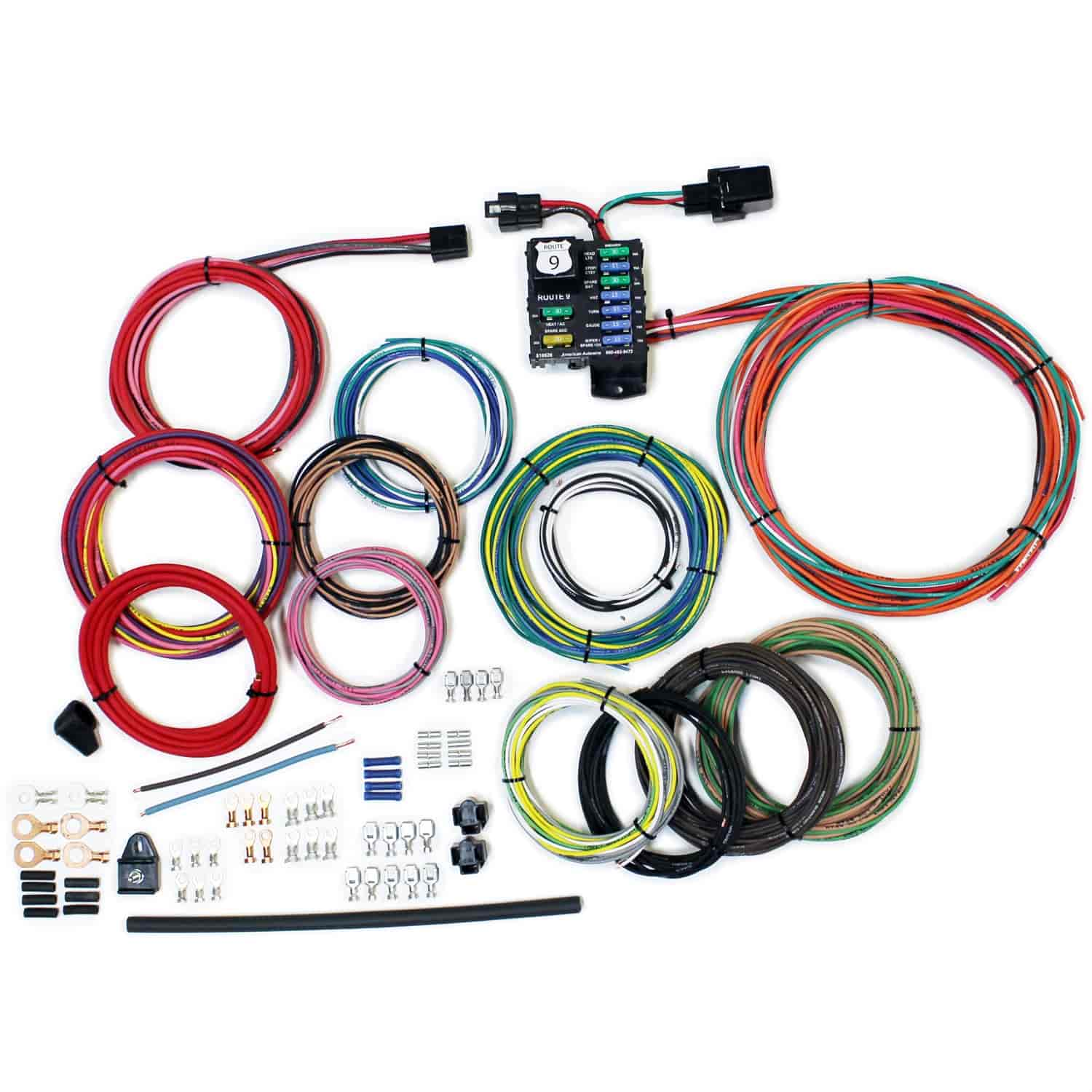 American Autowire 510625: Route 9 Universal Wiring System | JEGS on universal miller by sperian harness, construction harness, universal air filter, universal equipment harness, universal ignition module, universal battery, universal radio harness, universal heater core, universal fuel rail, lightweight safety harness, stihl universal harness, universal steering column, universal fuse box,