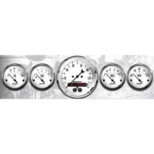 Auto Meter 1640 Old Tyme White 5 Fuel//Oil//Speedo//Volt//Water Gauge Kit