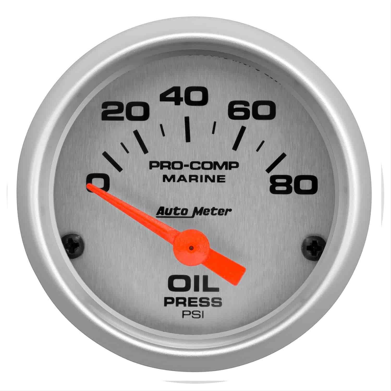 AutoMeter 200744-33 Marine Electric Oil Pressure Gauge 2-1//16 in Silver Dial Face Brushed Aluminum Bezel