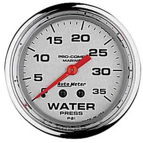 Water Press 35Psi Auto Meter AutoMeter 200773-35 Ultra-Lite Gauge Marine Chrome Mechanical 2 5//8