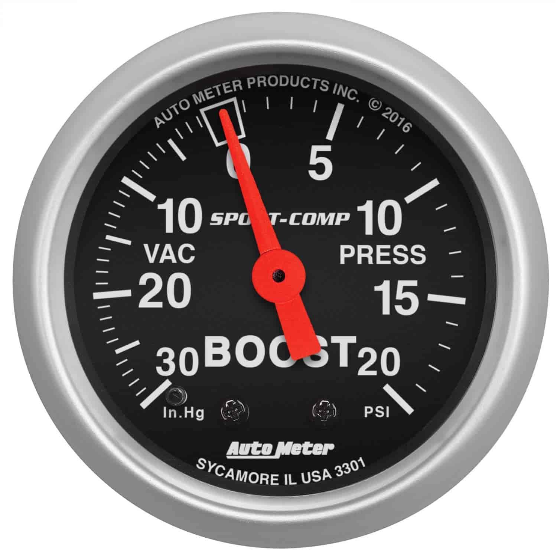 auto meter 3301 sport comp vacuum boost gauge 2 1 16. Black Bedroom Furniture Sets. Home Design Ideas