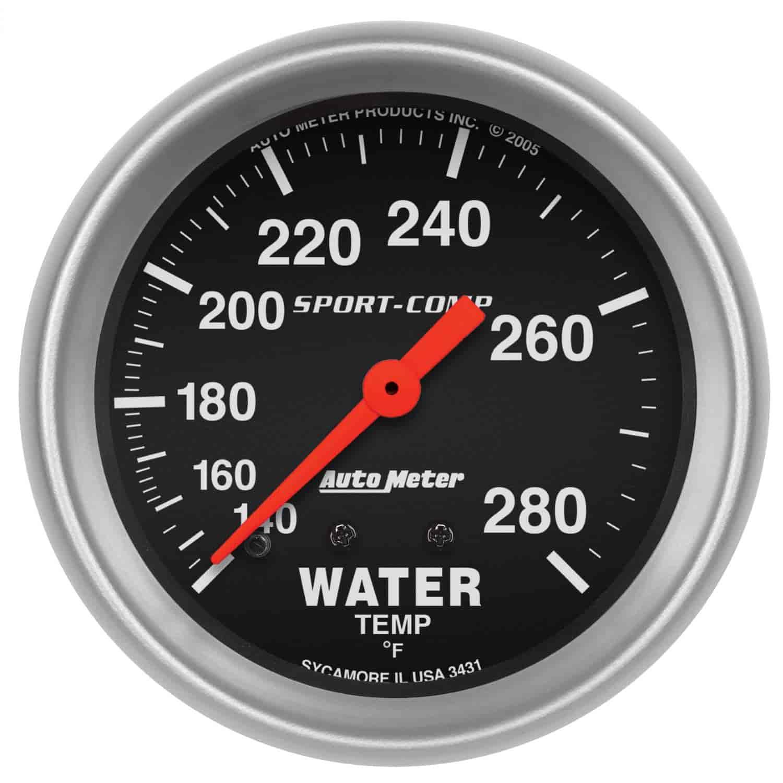 auto meter 3431 sport comp water temperature gauge 2 5 8. Black Bedroom Furniture Sets. Home Design Ideas