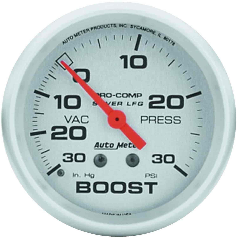 Auto Meter 4603: Silver Vacuum/Boost Gauge 2-5/8\