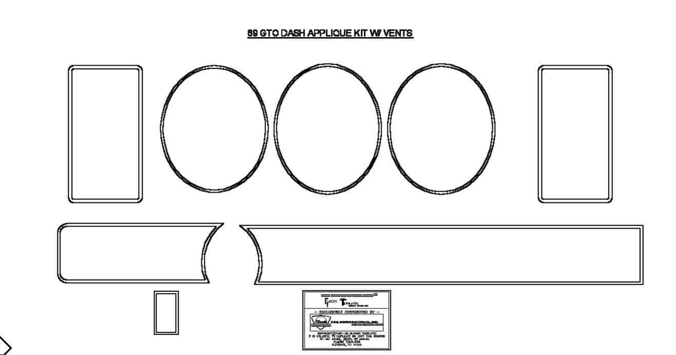 Auto Metal Direct W-892 69 GTO Dash Applique Set W/vents 8