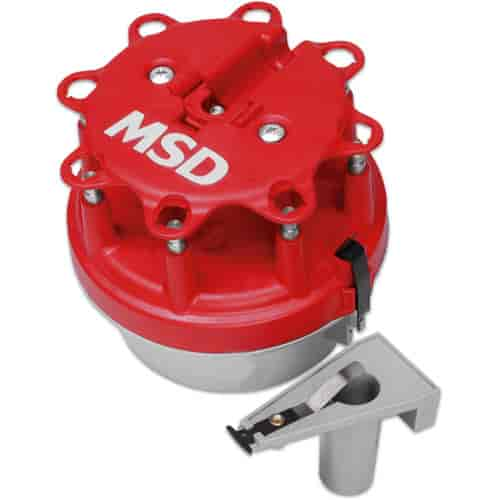 MSD Distributor Cap and Rotor Kit 84023; HEI Male Red for Chevy V8
