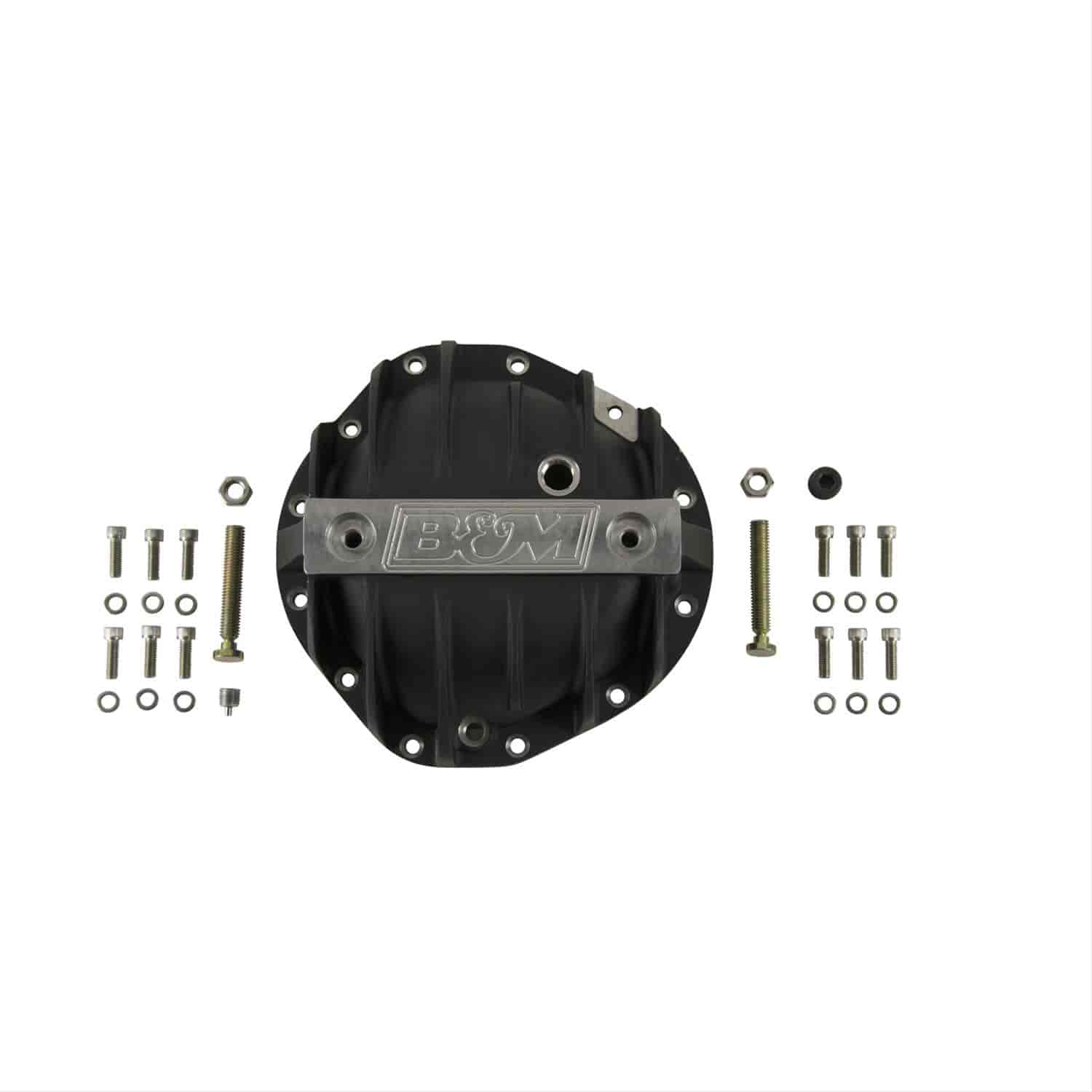 12 Bolt Incl Cover//Fill And Drain Plugs//Bolts//Washers//Load Bolts//Nuts Black Differential Cover B/&M 71504 Differential Cover For Use w//GM 8.875 in