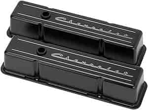 Billet Spec Valve Covers Stock Height Aluminum Chevrolet Logo Chevy SB Pair