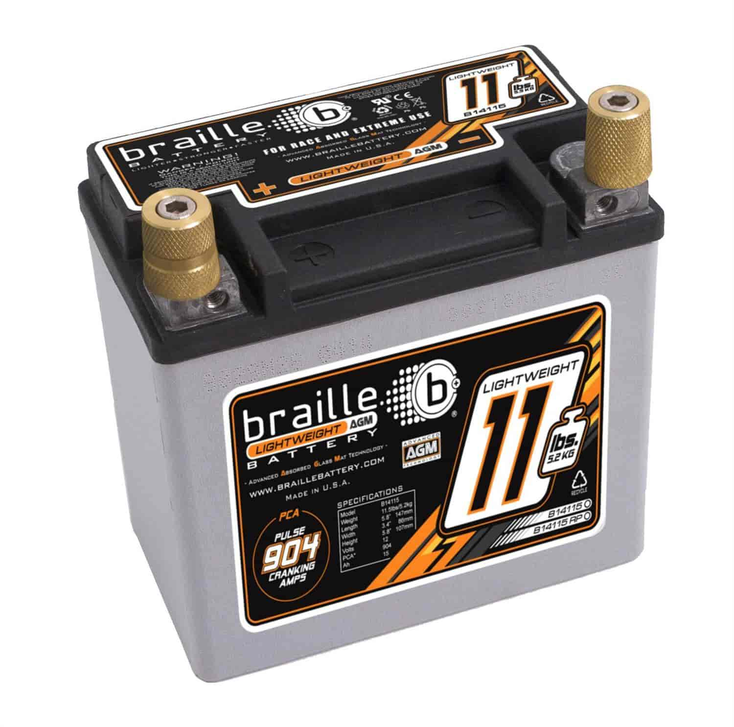 Braille Auto B14115 - Braille Advanced AGM Lightweight Racing Batteries