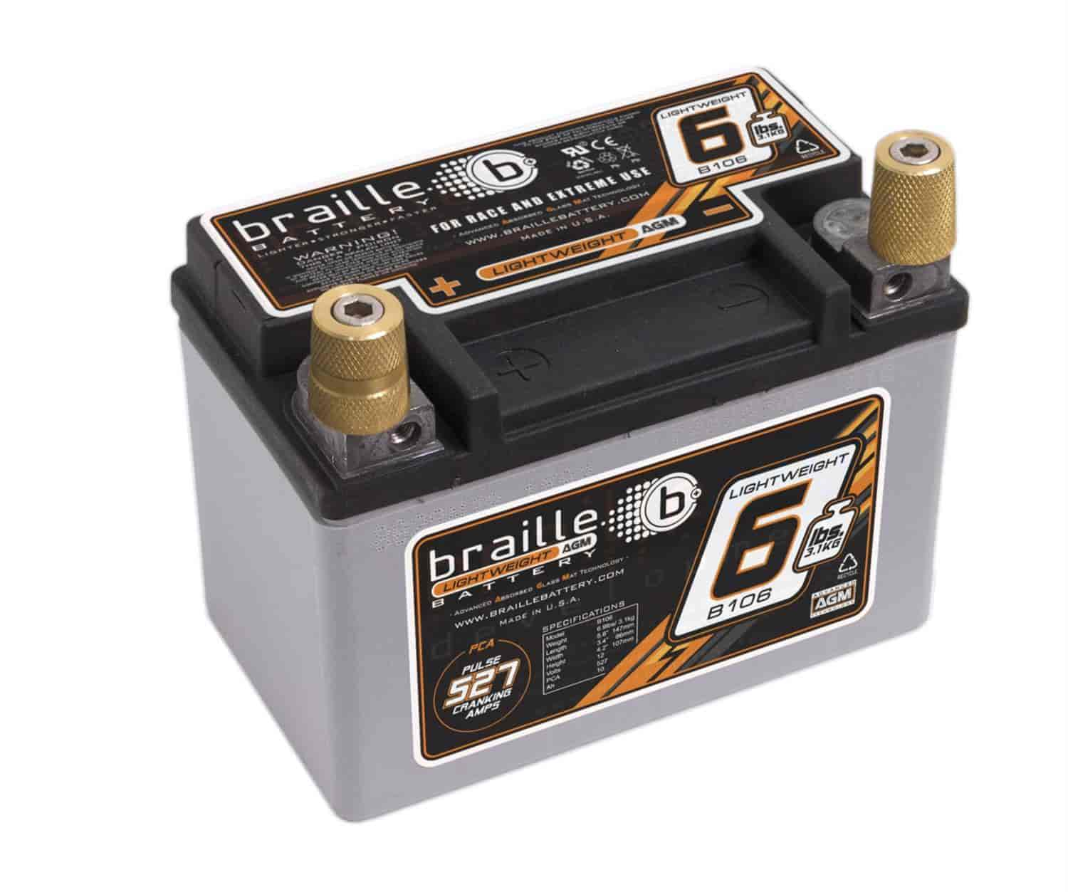 Braille Battery B106 - Braille Advanced AGM Lightweight Racing Batteries