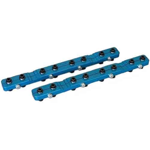 PRW Rocker Arm Stud Girdle 1545501; Spring Loaded Blue Aluminum for Pontiac V8