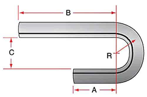 Hooker 12372HKR Mandrel Bend J-Style TubingMild Steel