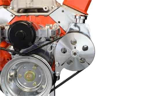 Small Block Chevy Alternator Bracket for Electric Water Pump w Chrome Alternator