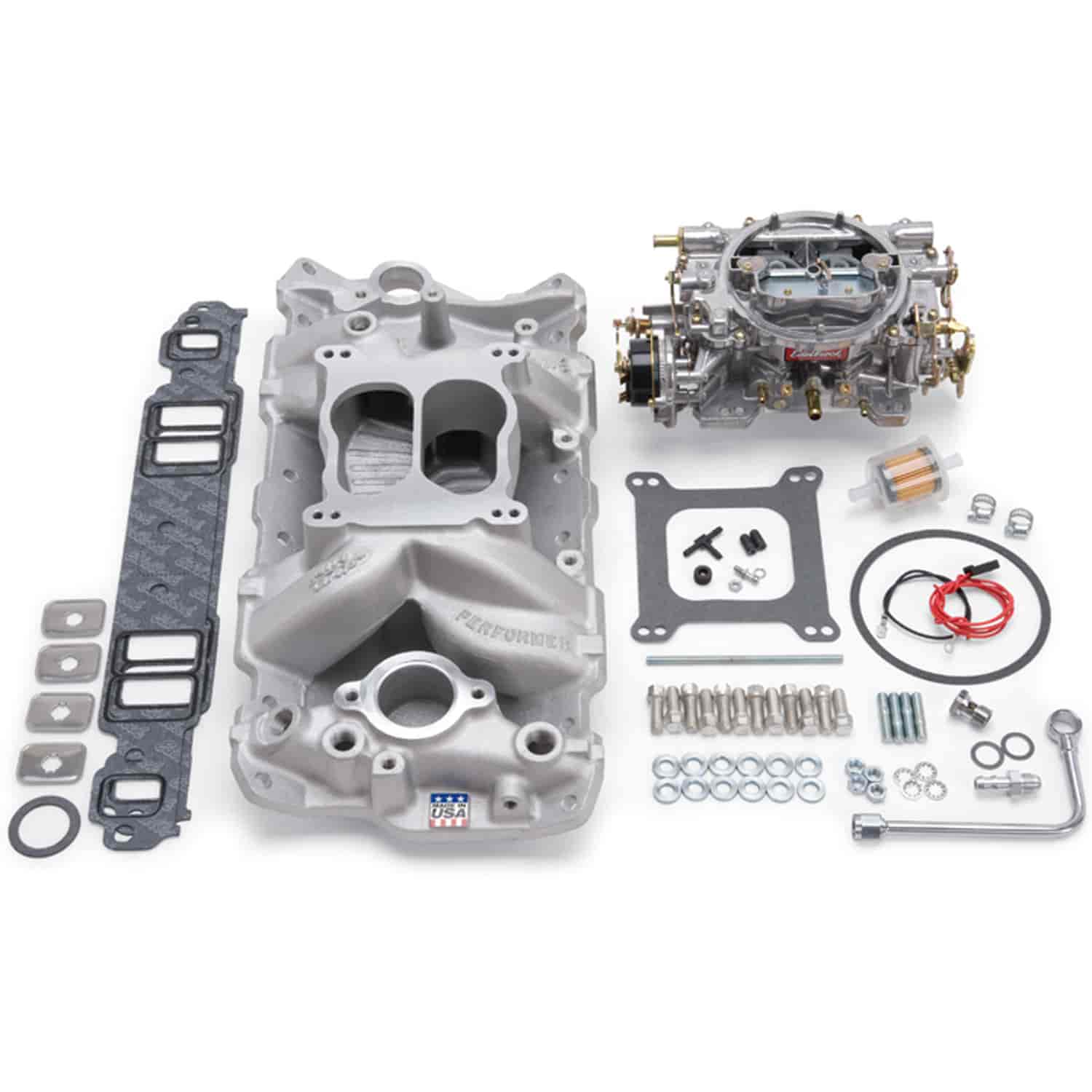 Edelbrock 2020 Single-Quad Manifold And Carb Kit Small