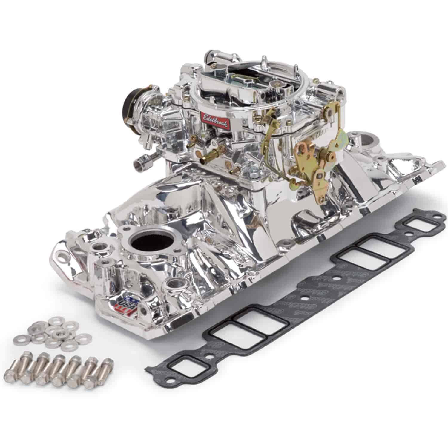 Edelbrock 20214 Single-Quad Manifold And Carb Kit Small