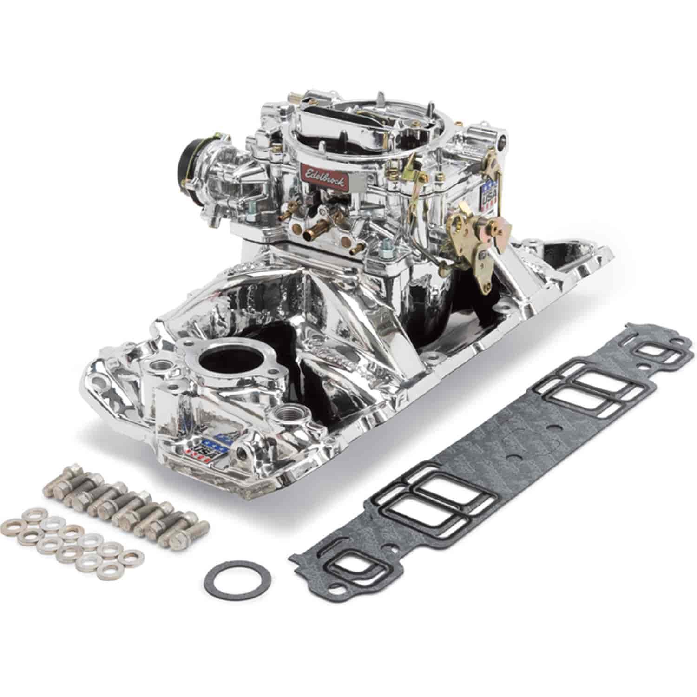 Edelbrock 20224 Single-Quad Manifold And Carb Kit Small