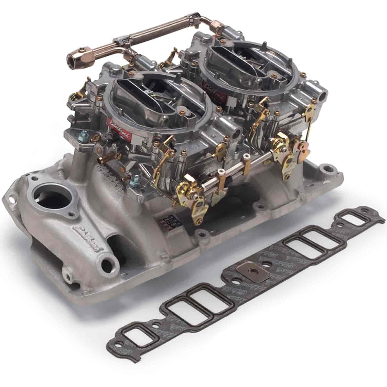 Carburetor Intake Manifold : Edelbrock dual quad manifold and carb kit sb chevy