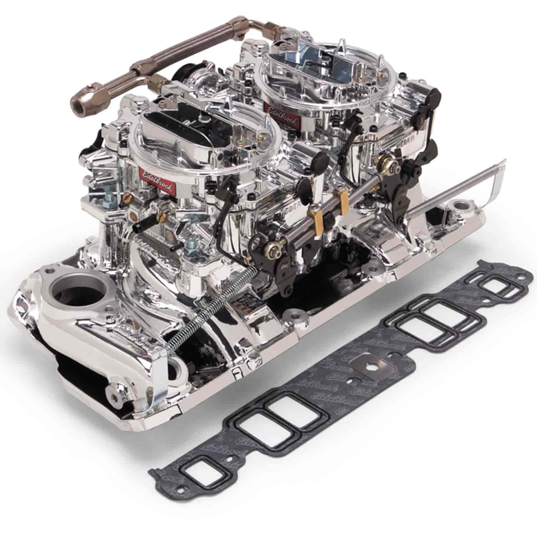 Edelbrock 20254 Dual-Quad Intake Manifold And Carb Kit