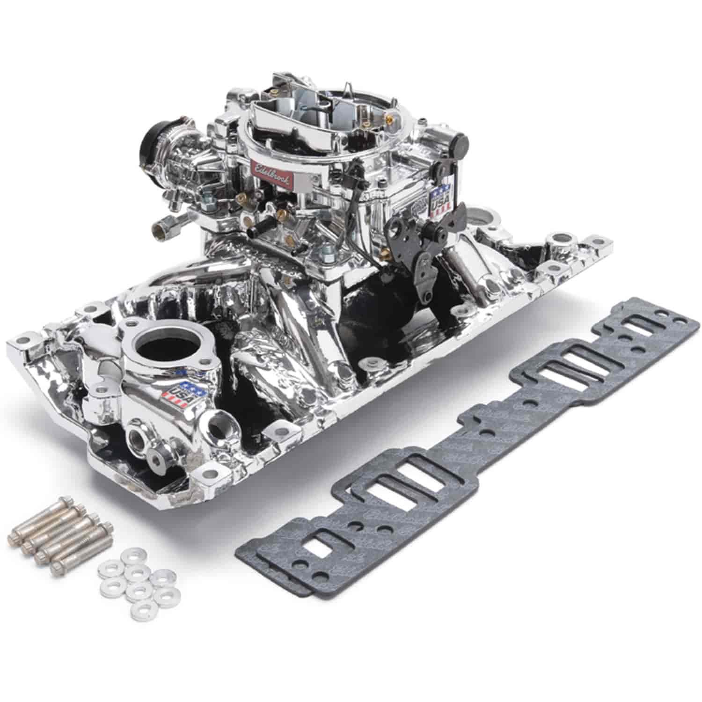 Edelbrock 2019 Rpm Power Package Top End Kit Small Block: Edelbrock 20294: Single-Quad RPM Air-Gap Manifold & Carb