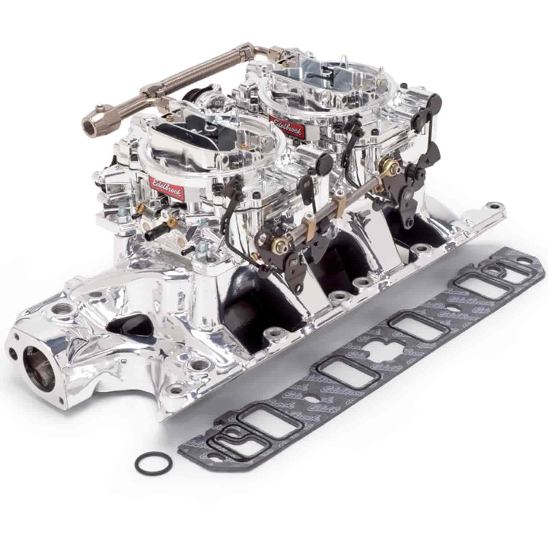 Edelbrock 2019 Rpm Power Package Top End Kit Small Block: Edelbrock 20354: RPM Dual-Quad Manifold And Carburetor Kit