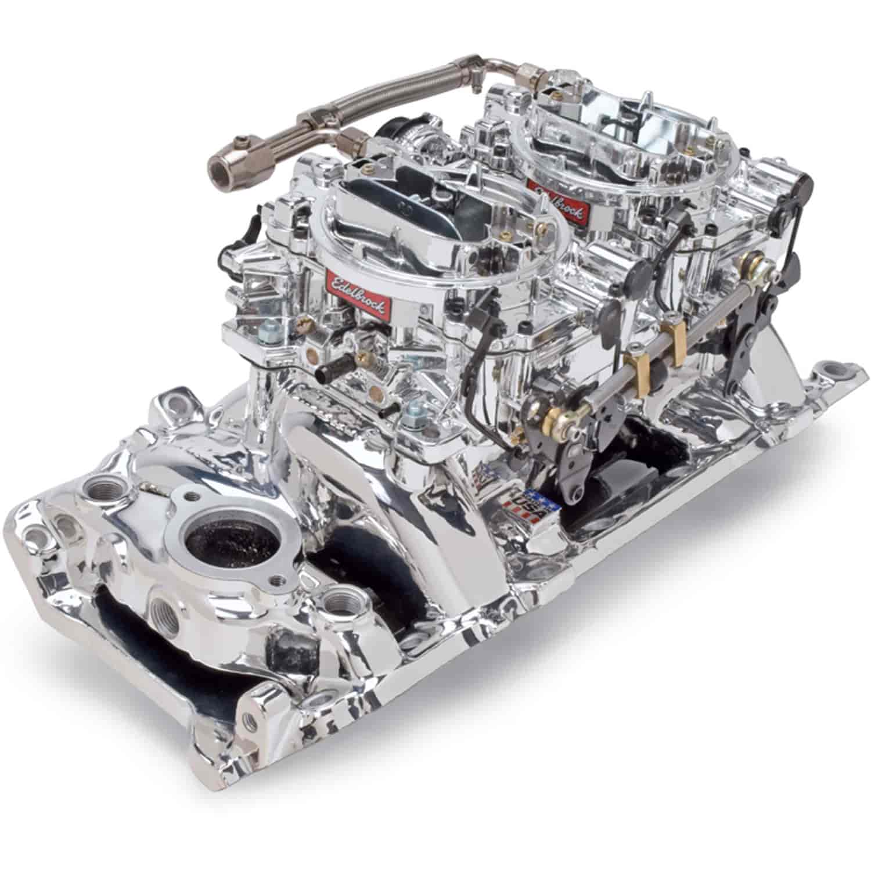 Edelbrock 20654 Dual-Quad Manifold And Carb Kit BB-Chevy