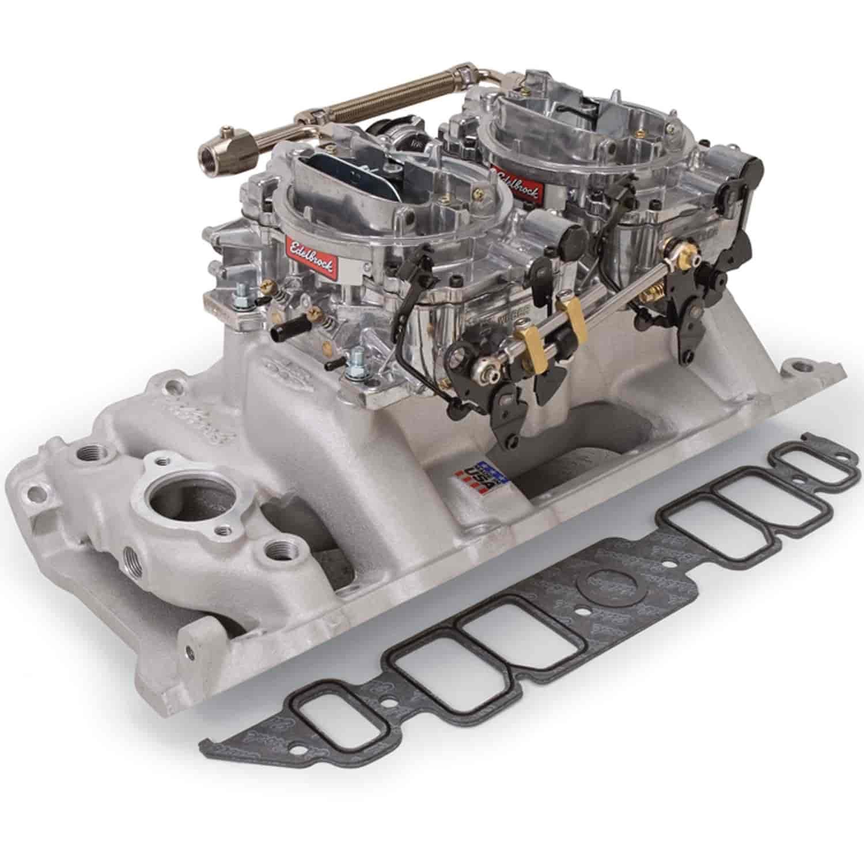 Edelbrock 2066 Dual-Quad Manifold And Carb Kit BB-Chevy