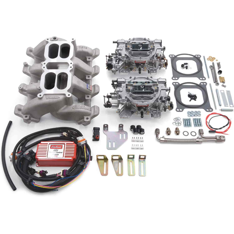 350 2068 edelbrock 2068 rpm dual quad manifold and carburetor kit for