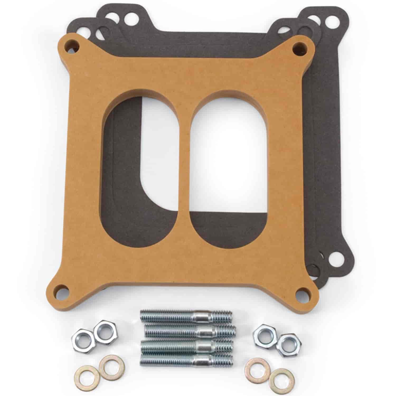 "Edelbrock Carburetor Spacer 8724; Square Bore 1//2/"" Open Wood 4150"