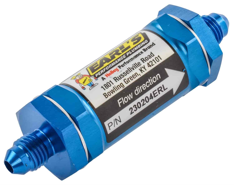Earl's 230204: In-Line Fuel Filter -04AN Male Fittings   JEGSJegs