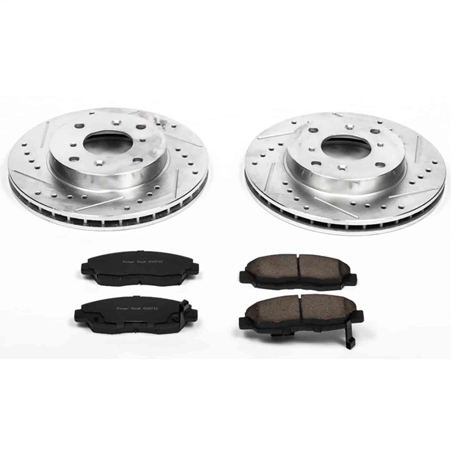 Power Stop K2435 Front Ceramic Brake Pad and Cross Drilled//Slotted Combo Rotor One-Click Brake Kit