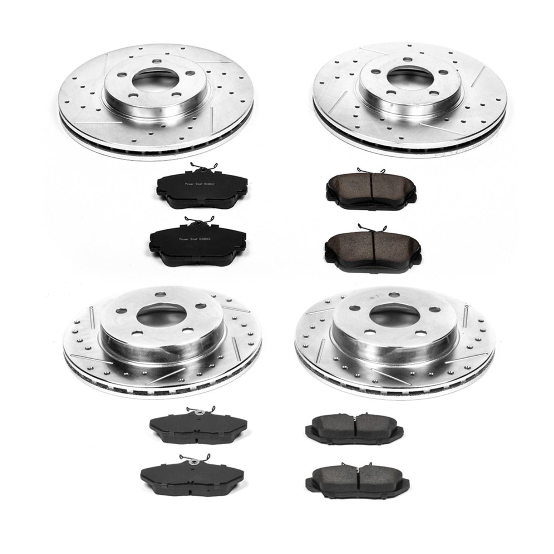 Power Stop K2781 Front /& Rear Brake Kit with Drilled//Slotted Brake Rotors and Z23 Evolution Ceramic Brake Pads