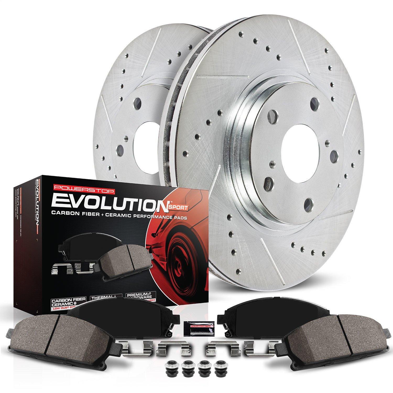 For Corolla Vibe Matrix Rear Drilled /& Slotted Brake Rotors /& Ceramic Pads