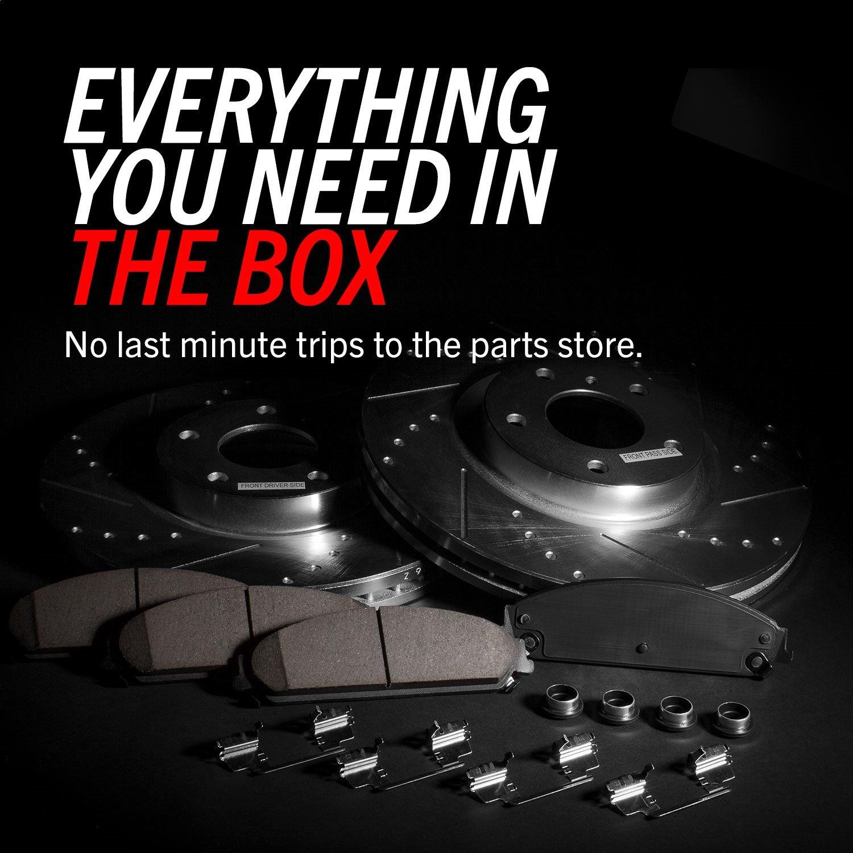 Power Stop K2556 Front /& Rear Brake Kit with Drilled//Slotted Brake Rotors and Z23 Evolution Ceramic Brake Pads