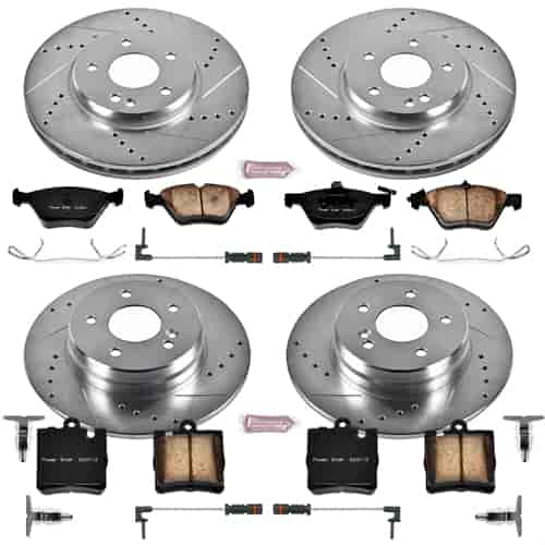 Fit 1998-1999 Mercedes-Benz E300 Front Rear Plain Brake Rotors+Ceramic Pads