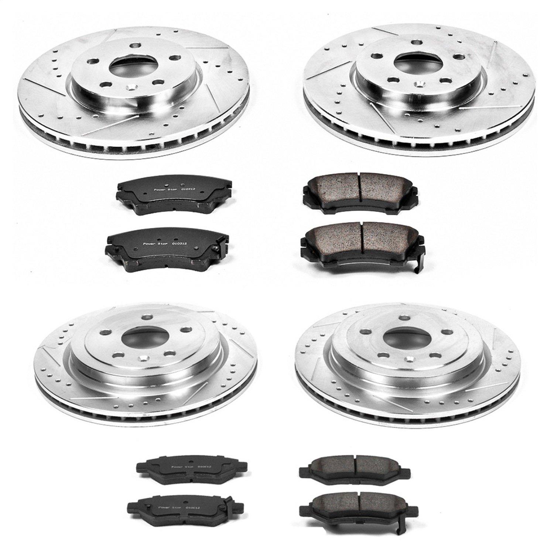 Power Stop K1034 Front /& Rear Brake Kit with Drilled//Slotted Brake Rotors and Z23 Evolution Ceramic Brake Pads