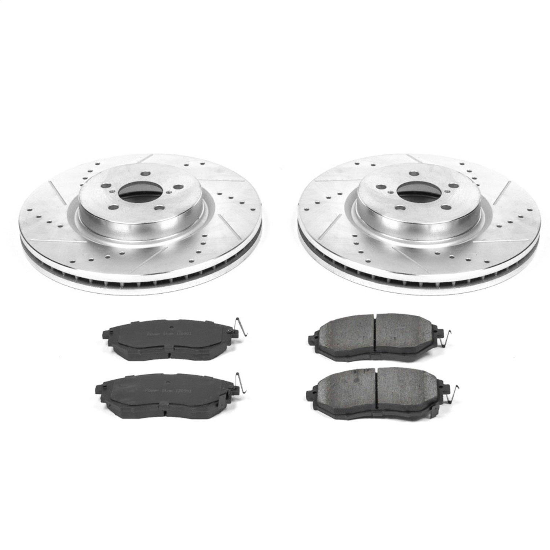 Fit Subaru Outback Legacy Front Rear Black Drill Slot Brake Rotors+Ceramic Pads