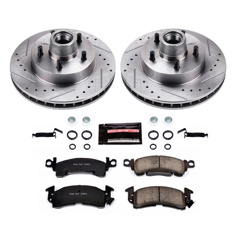 Power Stop KCOE5381 Autospecialty Rear Kit Rotors Ceramic Pads and Brake Calipers