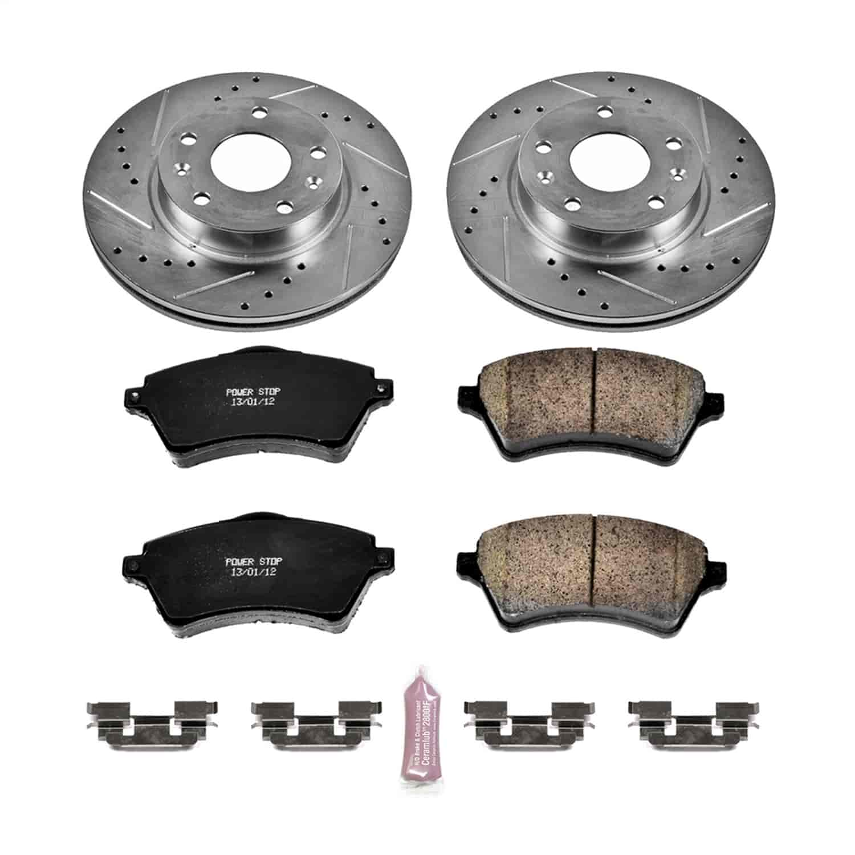 Power Stop K5352 Front Brake Kit with Drilled//Slotted Brake Rotors and Z23 Evolution Ceramic Brake Pads