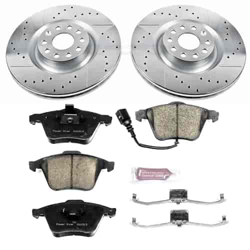 Power Stop K5425 Front Brake Kit with Drilled//Slotted Brake Rotors and Z23 Evolution Ceramic Brake Pads
