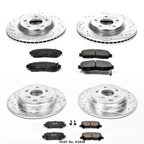 Power Stop K5508 Front and Rear Z23 Evolution Brake Kit with Drilled//Slotted Rotors and Ceramic Brake Pads