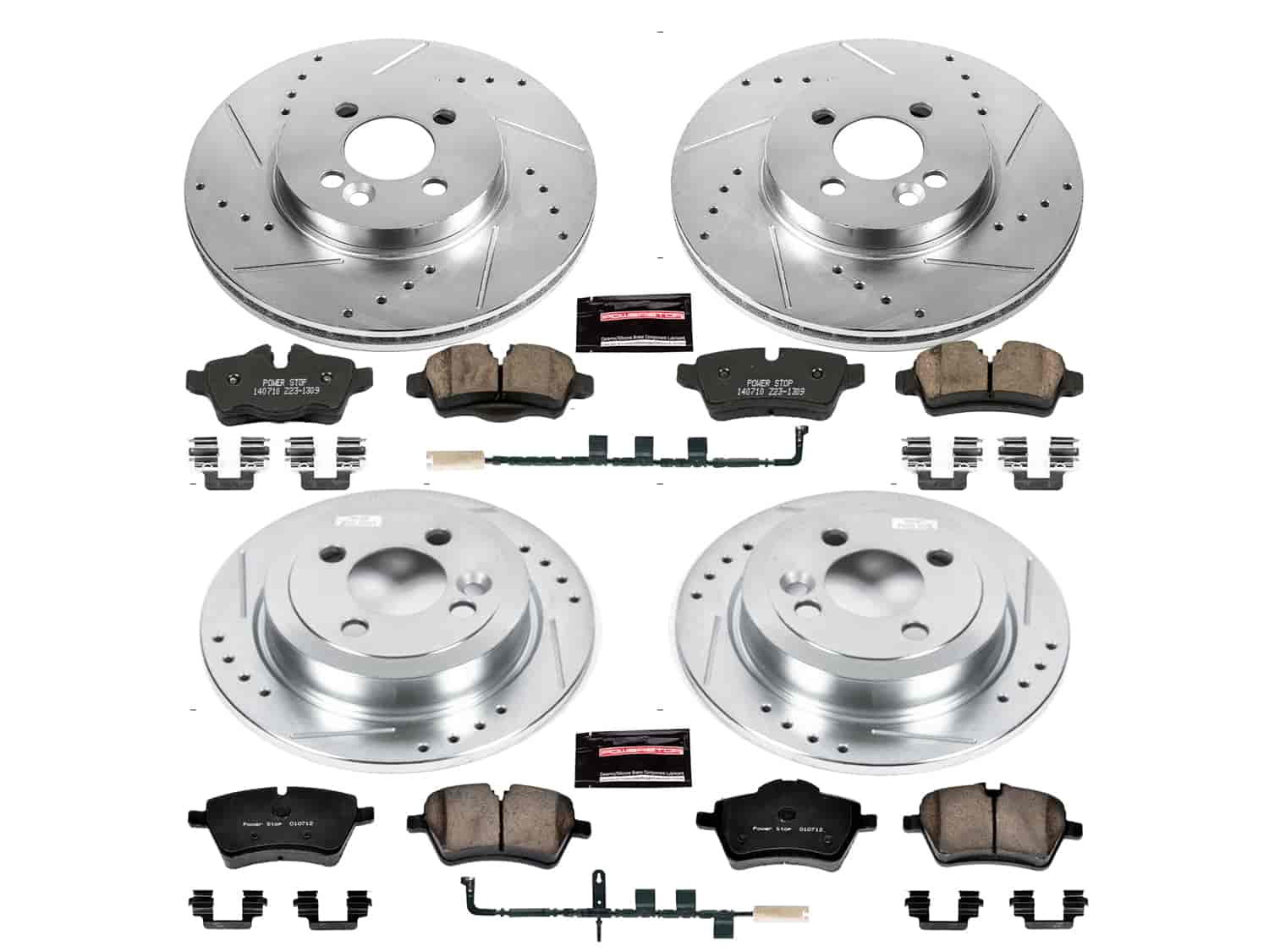 Fit 2009-2010 Mini Cooper Front Rear Sport Blank Brake Rotors+Ceramic Brake Pads